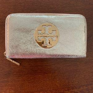 Tory Burch metallic gold zipper wallet